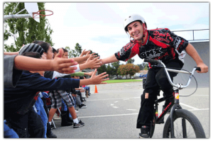 Anti Bullying School Assemblies and Presentations from Perfection on Wheels BMX Stunt Team